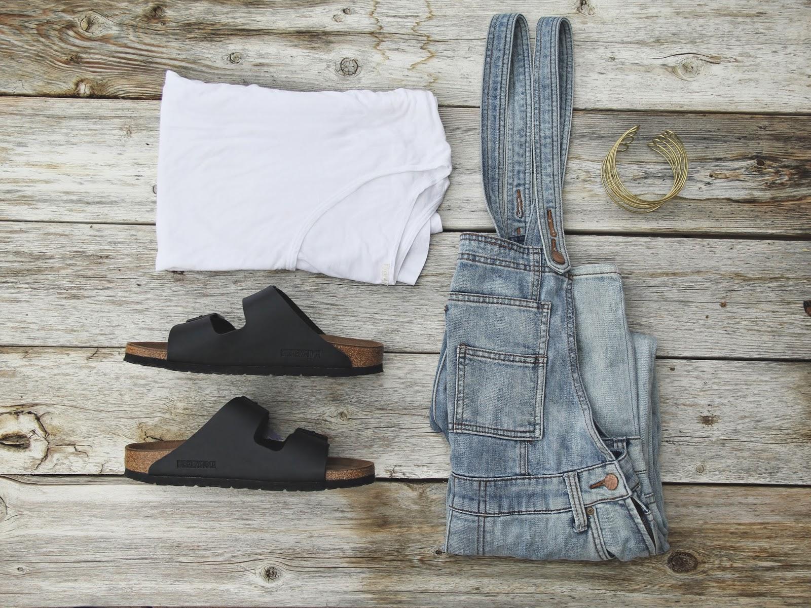 Overalls, Birkenstocks, Arm Cuff, White shirt