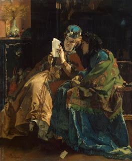 Two richly dressed Victorian women sit reading a letter.