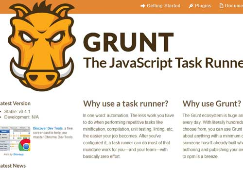 Grunt ~ 43 Useful and Time Saving Web Development Kits and Frameworks