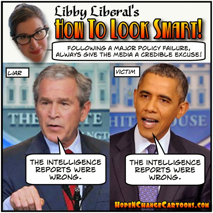 obama, obama jokes, cartoon, political, conservative, hope n' change, hope and change, stilton jarlsberg, intelligence, ISIS, bush, briefings