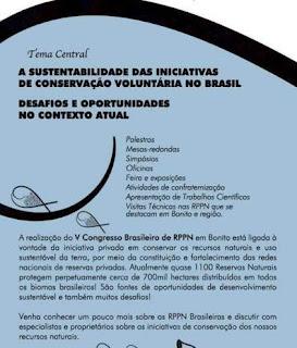 Programação do evento do V Congresso Brasileiro de RPPN - MS