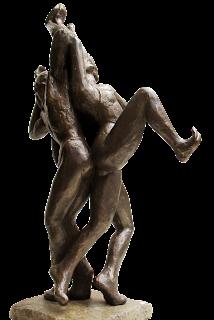 Statue style figuratif Deux hommes et une femme dansent