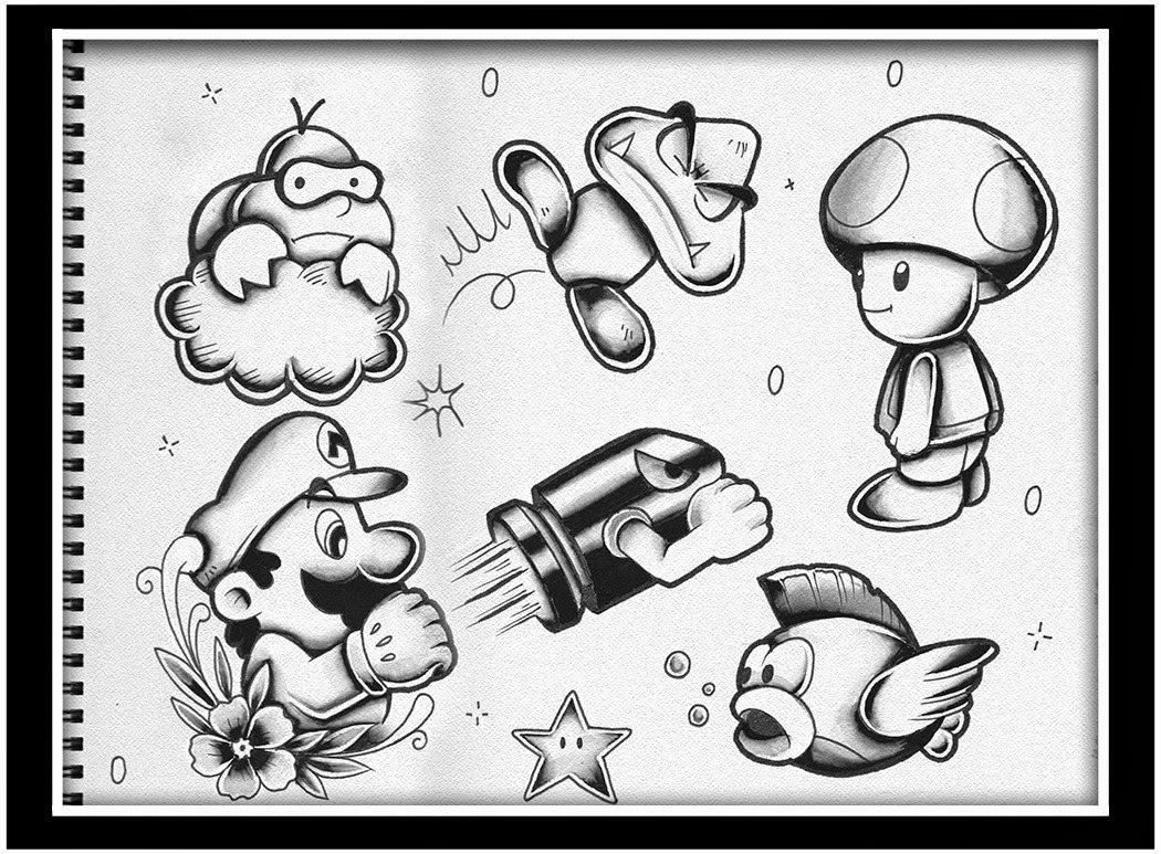 Super Mario Bros Tattoo Designs