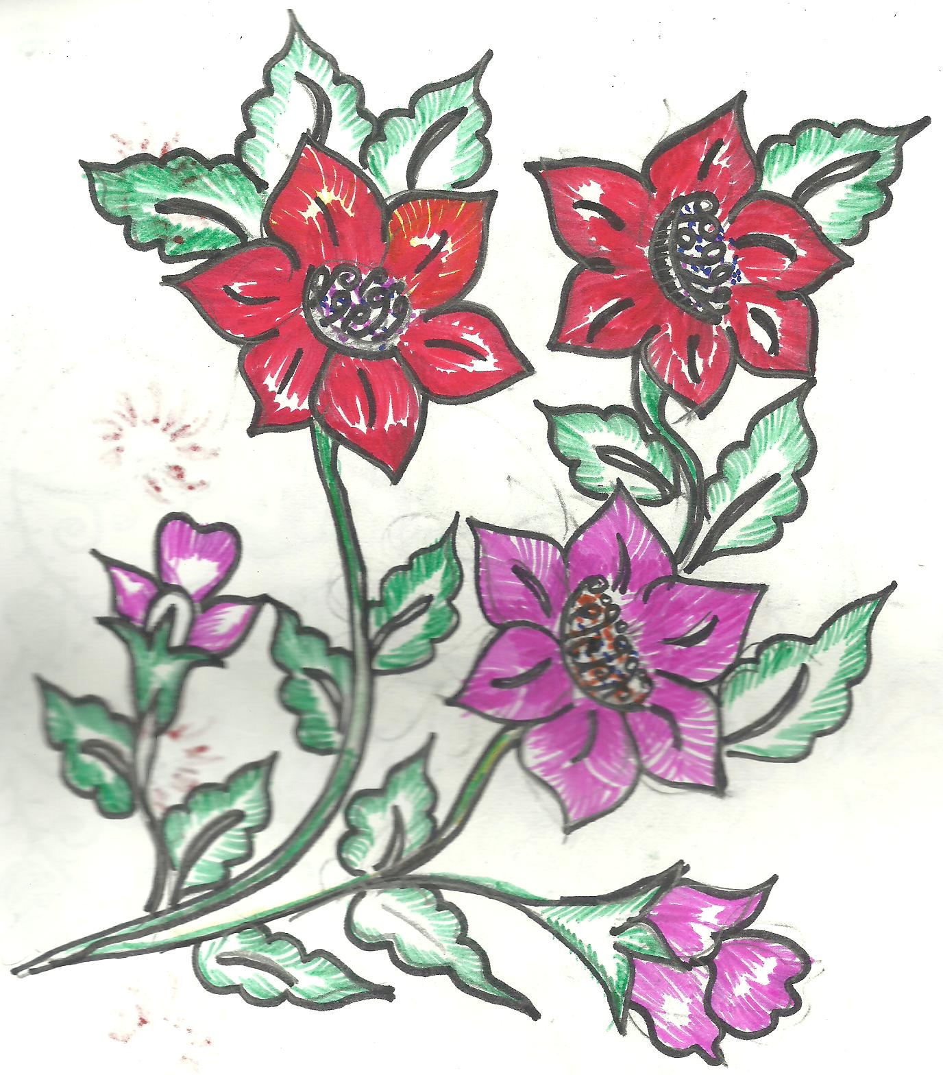 Bed sheets designs fabric painting - Design 04