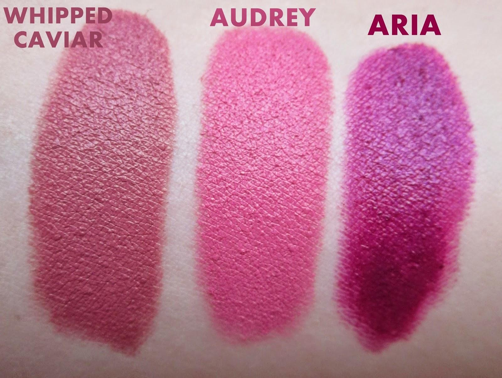 NYX Matte Lipsticks: Aria, Whipped Caviar & Audrey | The Glam Monster