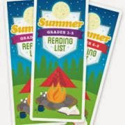 Front-cover view of Summer Reading List brochures for kindergarten to second, third to fifth and sixth to eighth grades, produced by the Association for Library Service to Children. The cover image on each brochure features a book next to a campfire in front of a tent with trees in the background.