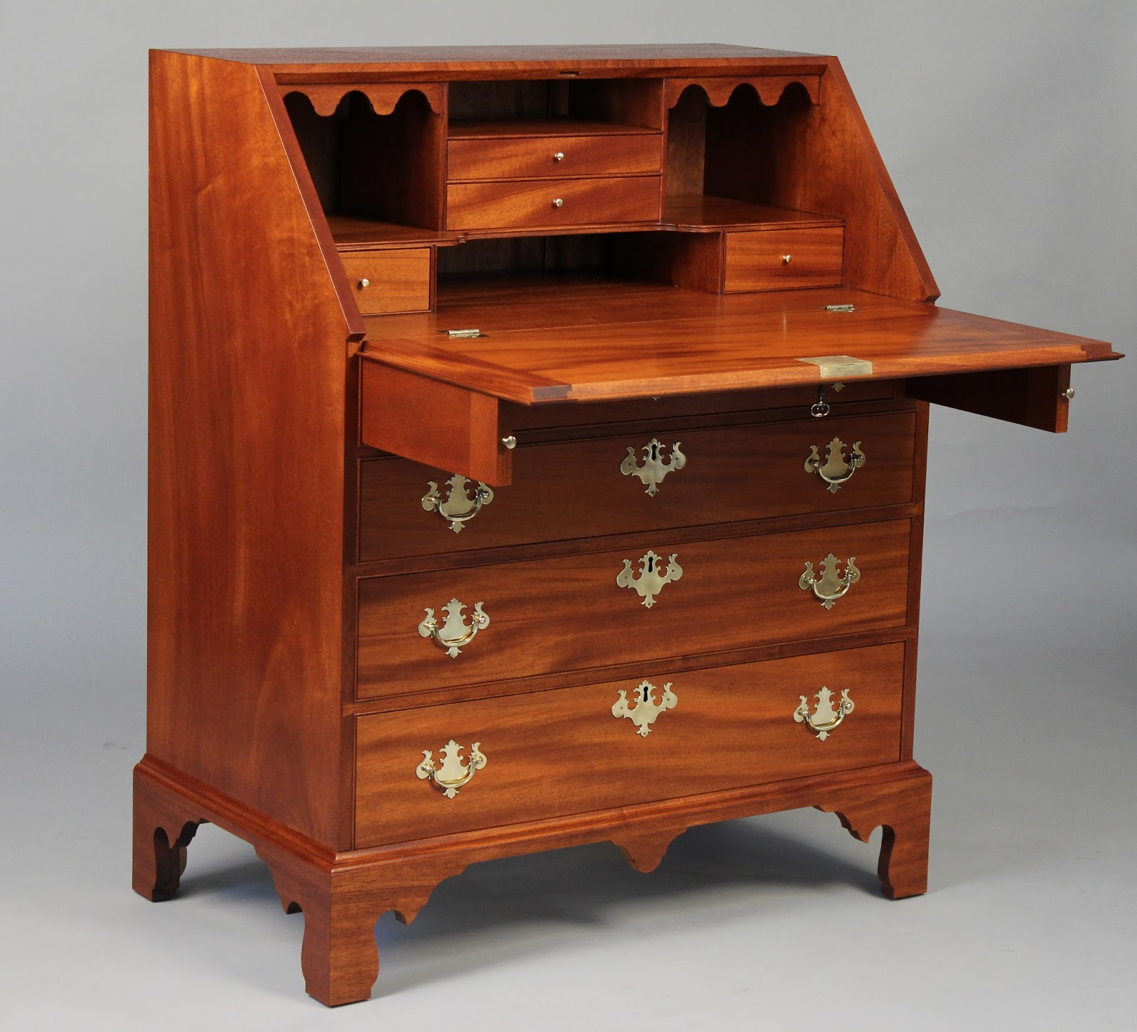 handmade chippendale slant top desk
