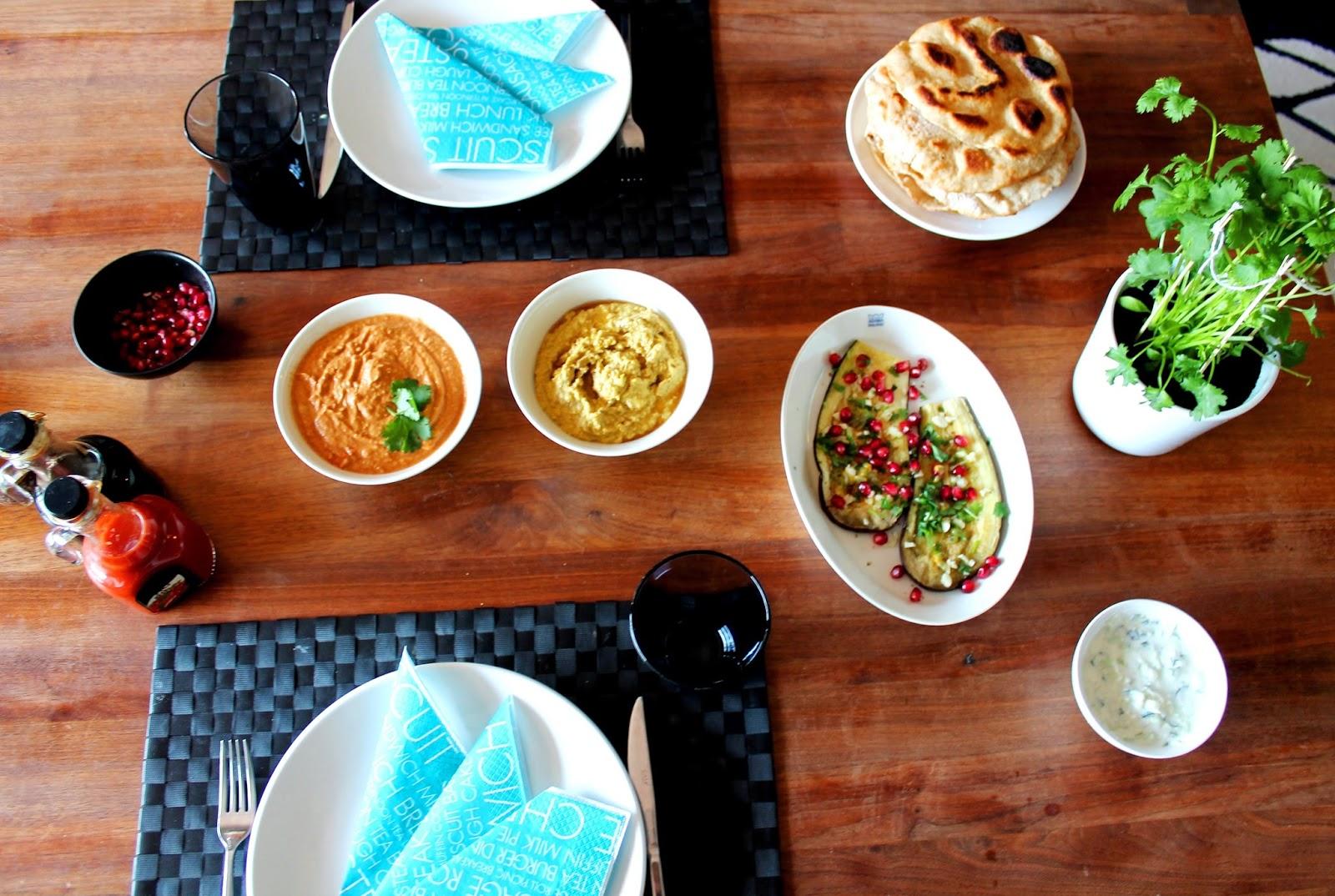 Vegetarian food: hummus, eggplants, flat bread | Alinan kotona blog