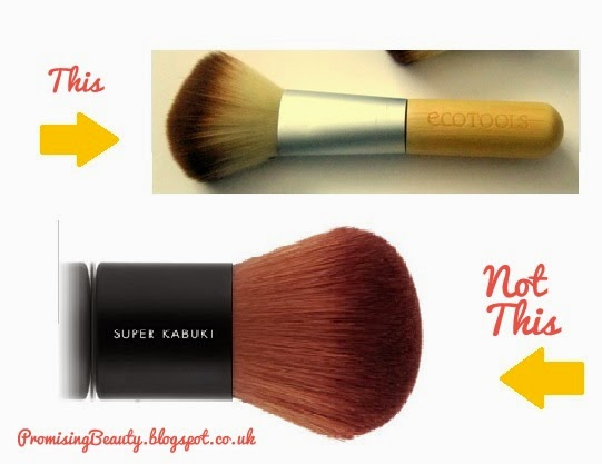 mineral make up brushes, lily lolo super kabuki brush and ecotools travel powder brush for mineral foundation.