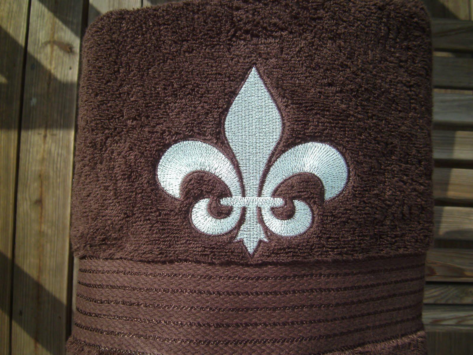 Go for it embroidery seafoam green fleur de lis on a brown towel - Fleur de lis bath towels ...