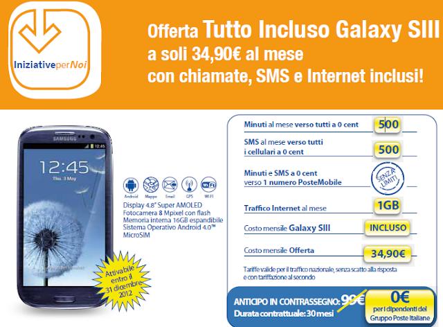 Samsung Galaxy SIII Promozione PosteMobile