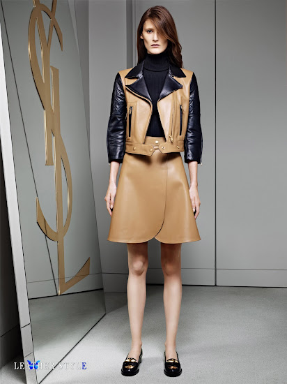 fashion, designer, Yves Saint Laurent, collection, photos, look book, leather, models, motorcycle jacket, leather skirt