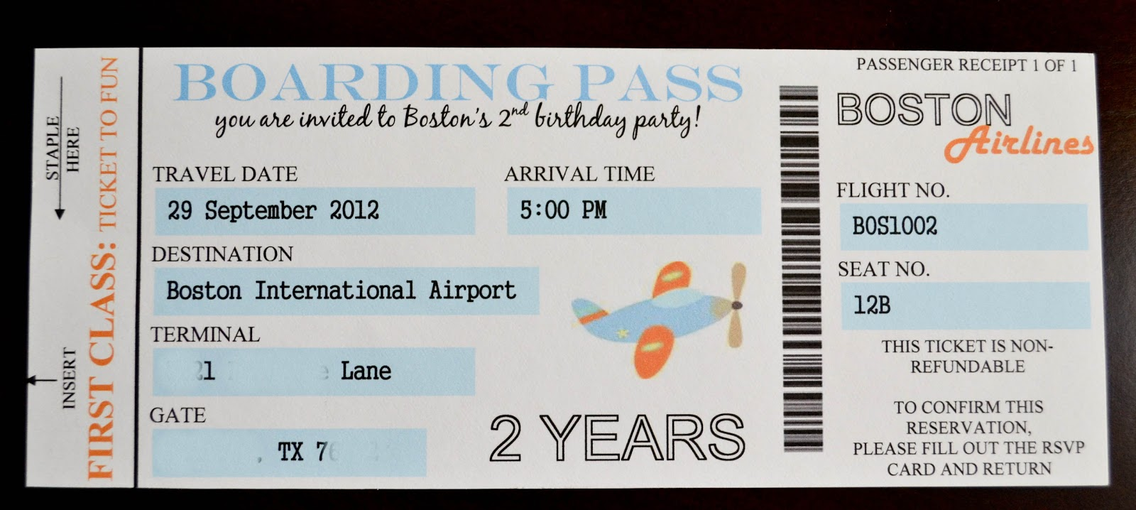 Airplane Boarding Pass Invitations – Giggles Galore
