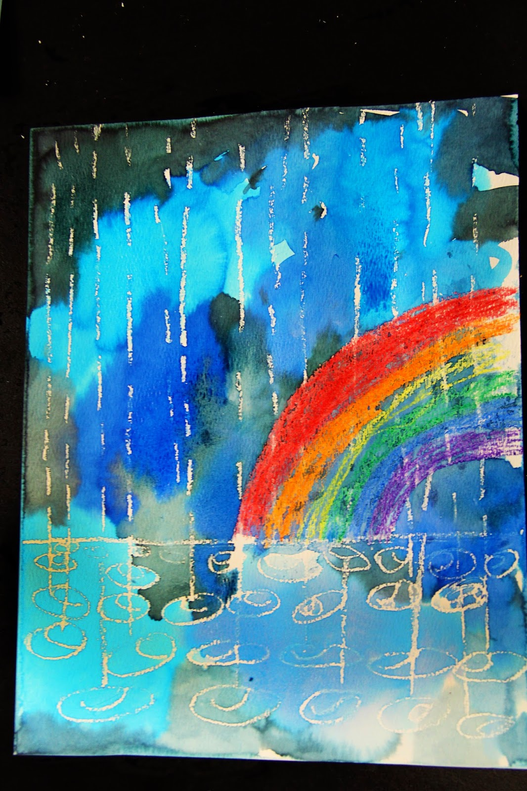 Smart class winter rain watercolor resist for 1 day paint