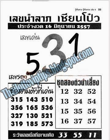 Thai lottery Hot Exclusive Tip paper Sure Number 16-06-2014