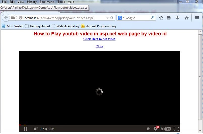 How to Play YouTube Videos in Asp.net by using Jquery by parijat