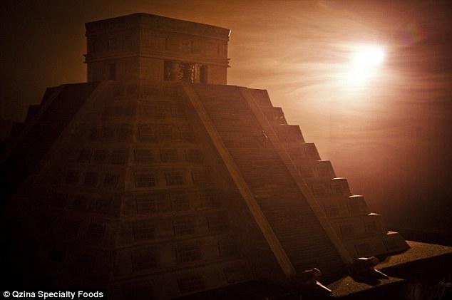 Fotos del templo maya hecho de chocolate