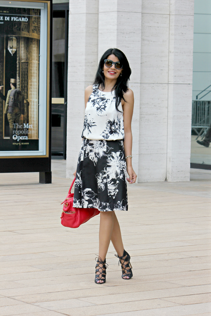 Brushstroke Dress, Black & White Floral Dress, NYFW Street Style, Ann Taylor Party Dress, Lace up Booties, Vince Camuto Sandals, Fossil red Satchel 'Erin""