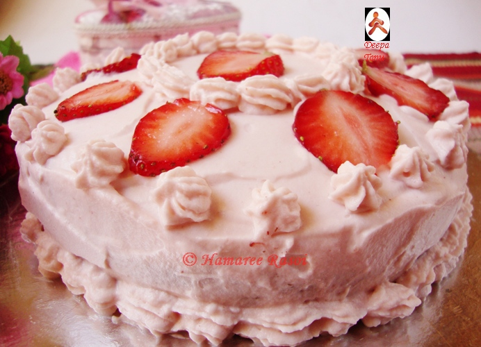 Strawberry Cake With Whipped Strawberry Frosting