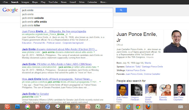 search of jack enrile on google produces some interesting