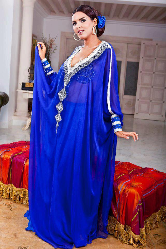 Caftan bleu royal tres chic 2013 for Vente robe chaoui