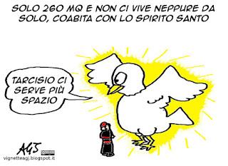 Bertone, attico, coinquilini, satira, vignetta