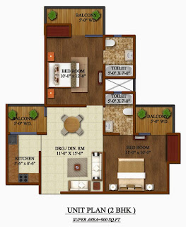 Up Country, Yamuna Expressway :: Floor Plans,Unit Plan :-2 BHK Super Area: 900 Sq. Ft.,