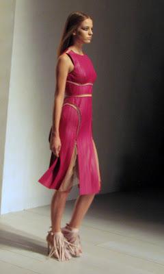 Marios Schwab for SS13 bright pink dress