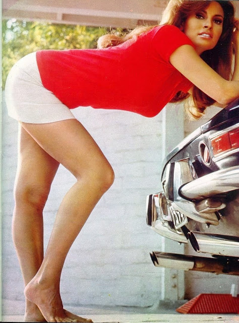 Raquel Welch in a garage