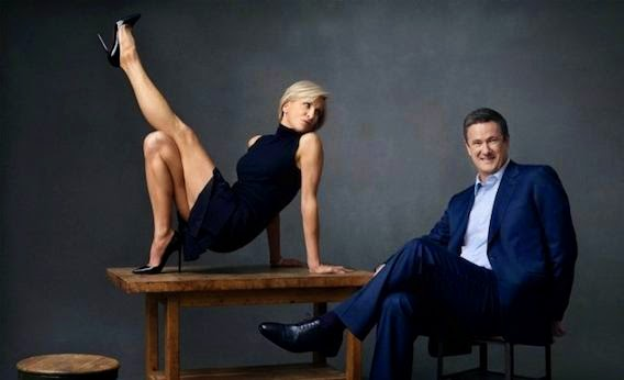 "Photo Credit-The Slate MSNBC Hosts Mika Brzezinski and  Joe Scarborough posing for  questionable ""leg photo"" shot"