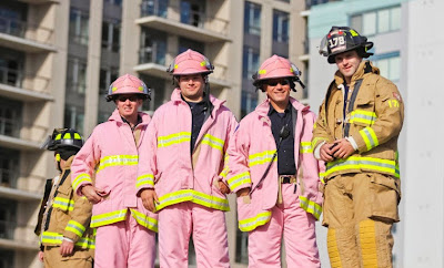 CIBC Run for the Cure - firemen in pink