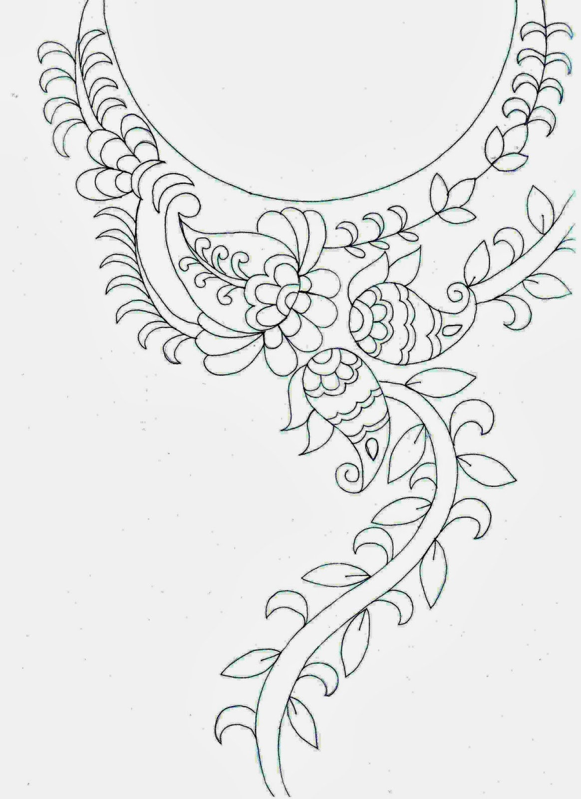 Embdesigntube amazing embroidery sketch neck patch