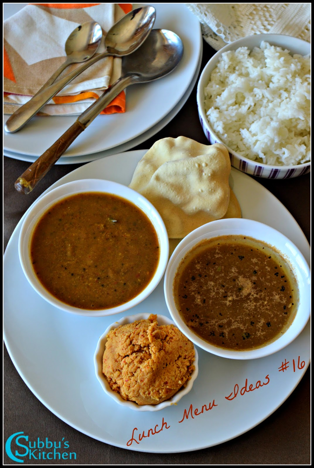 South Indian Lunch Menu 16 - Milagu Kuzhambu, Paruppu Thugayal, Jeera Rasam, Appalam and Rice