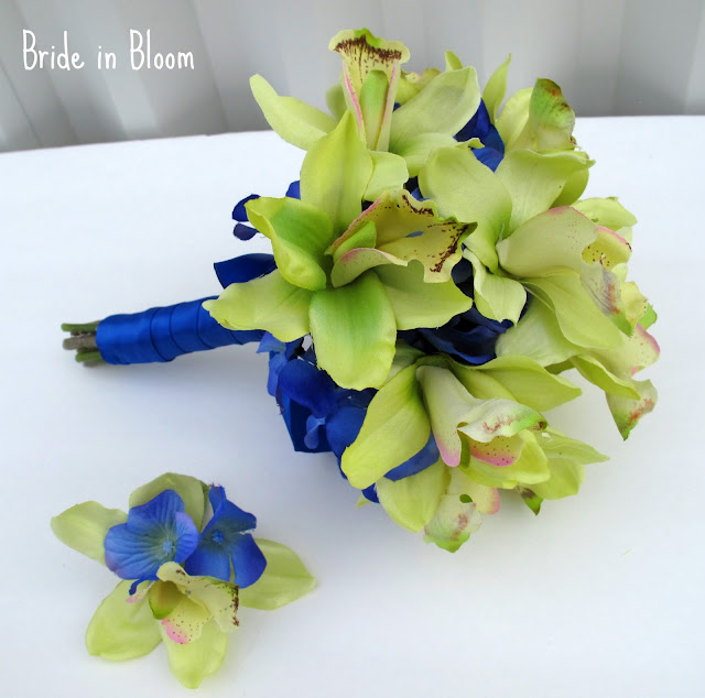 Green orchid Royal blue wedding bouquet