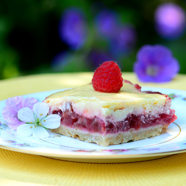 Raspberry Rhubarb Cheesecake Bars