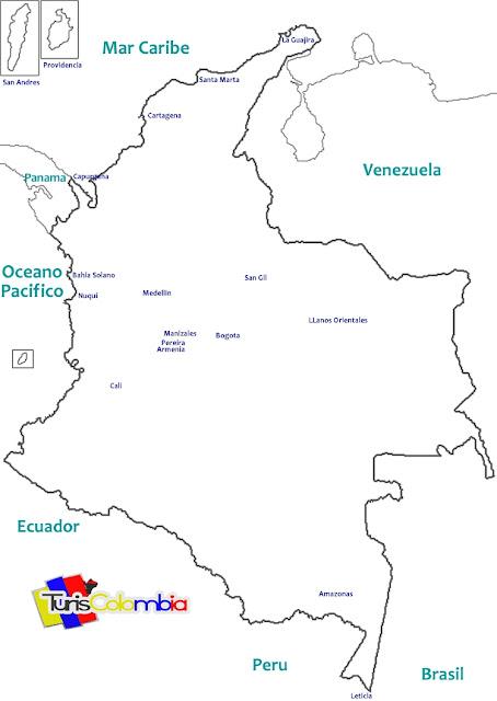 mapa de colombia para pintar