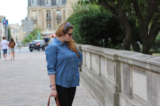 tenue blog mode chemise jean Pull and bear