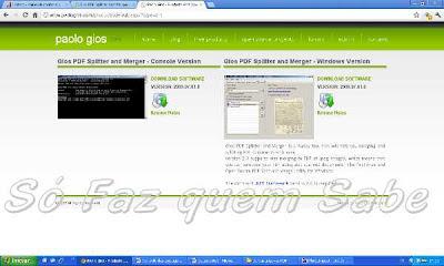 Página do site do desenvolvedor do programa para unir arquivos PDF em que se faz o download do aplicativo.