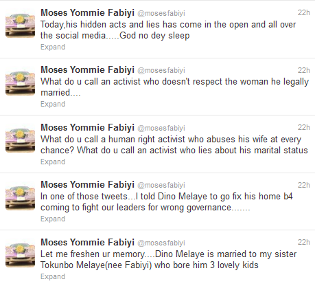 'I Believe He Got The Lady Pregnant' - Dino Melaye's Brother In Law Tweets