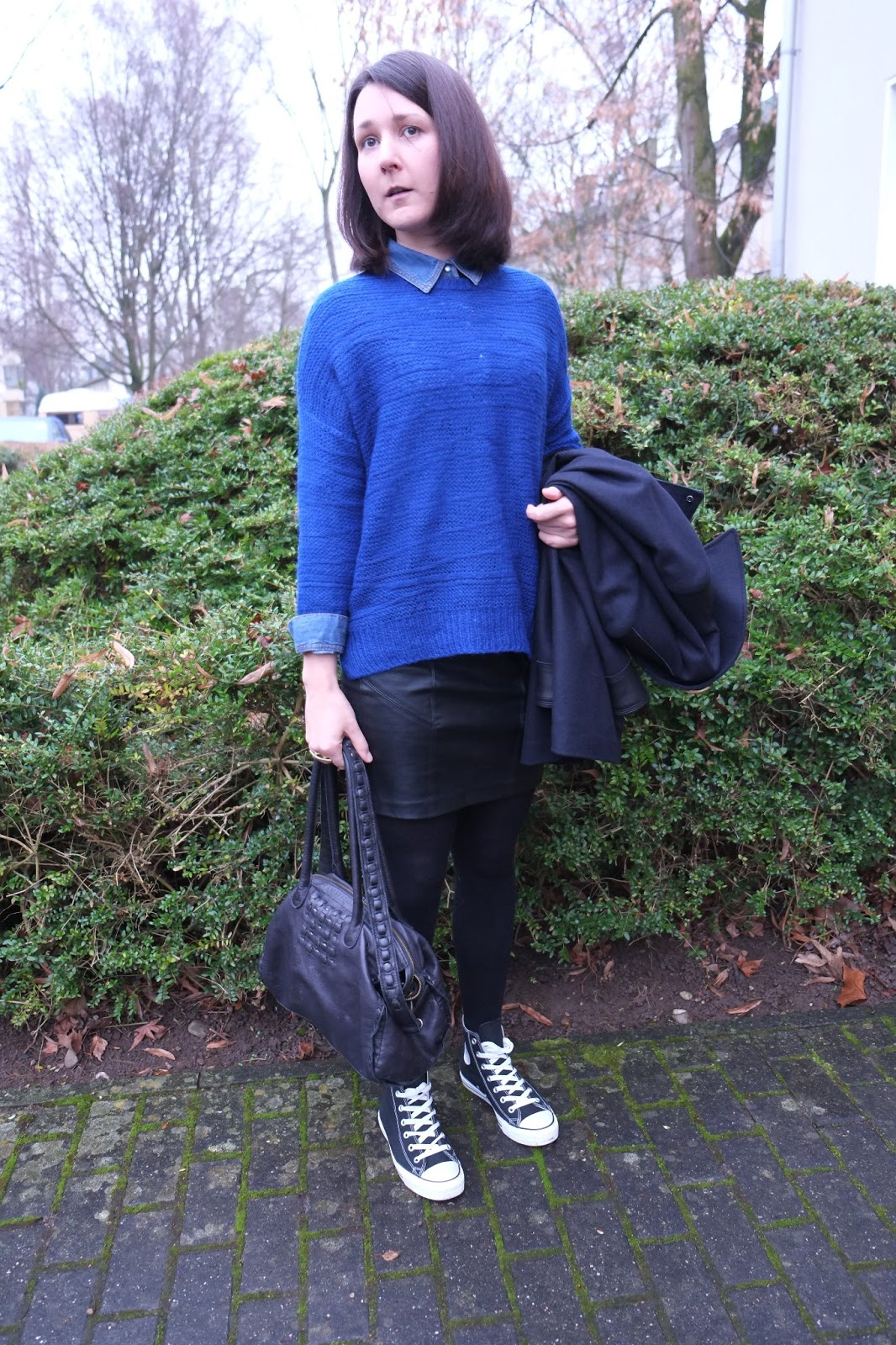 my moonriver ootd leather skirt and blue knit