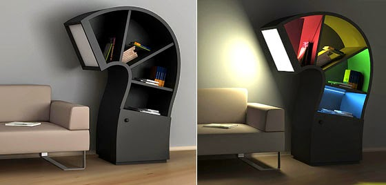 Curvy look with a color backlit shelves