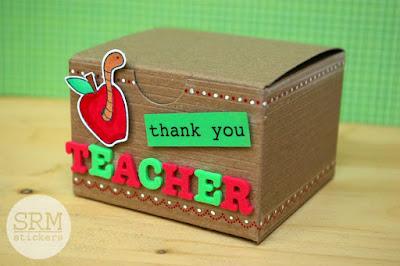 SRM Stickers Blog - A Gift for the Teacher by Lorena - #teacher #giftbox #thankyou #kraftbox #stickers #stitches #janesdoodles #gardenfriends