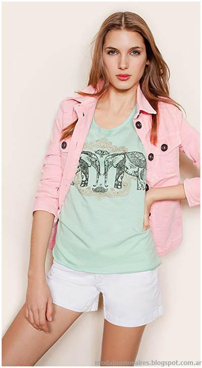 Remeras colores pasteles verano 2014 marca Gloria JEans Wear.