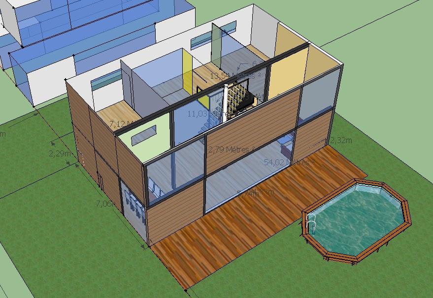 Maison container pc villa avec 6 container de 40 p et 2 for Villa container