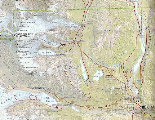 Mapa das caminhadas de El Chaltén - Patagônia Argentina