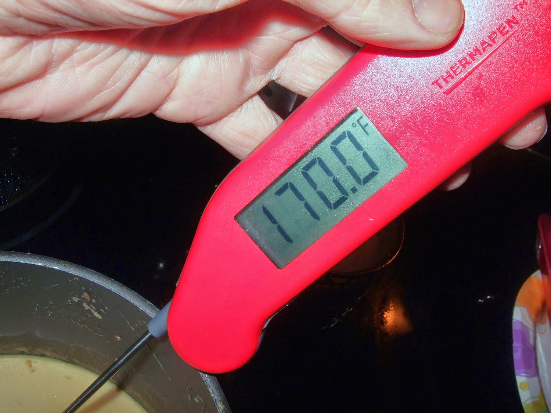 Custard at 170 degrees.