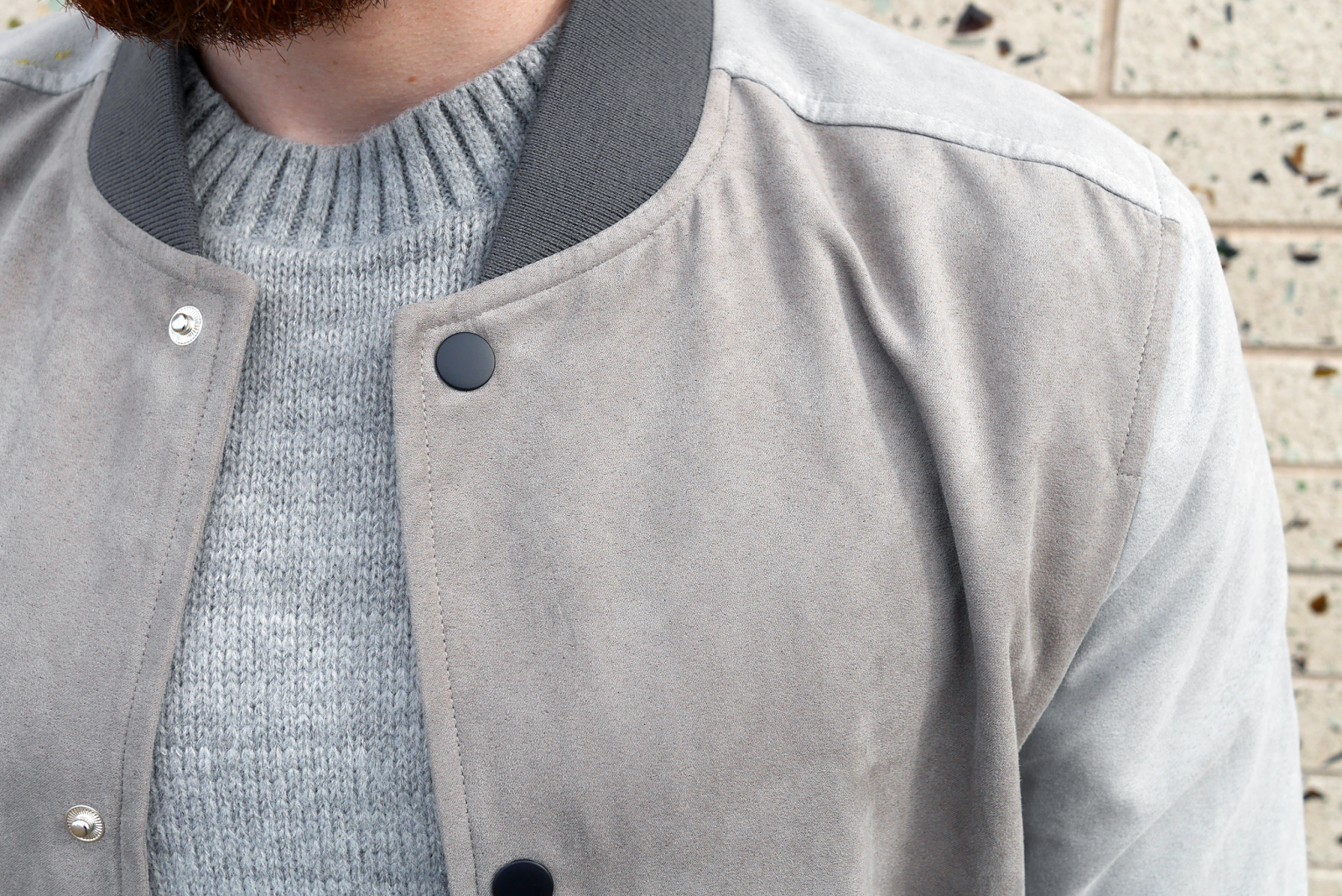 Shirt design new look - Russ Wears New Look Men Stone Bomber Jacket Grey Jumper Khaki Chinos Grey Sneakers Socks By Form Thread