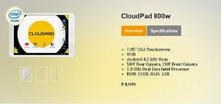 CloudPad 800W, Cloudfone's latest tab powered by Intel Processor