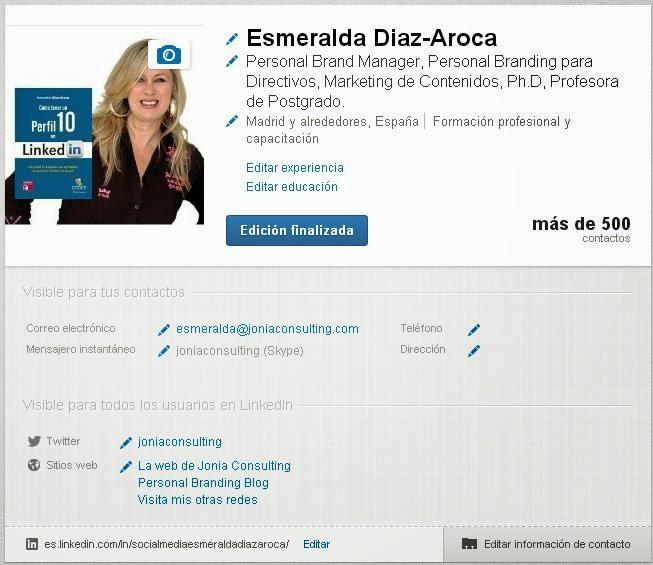 Editar tu perfil de LinkedIn. Esmeralda Diaz-Aroca