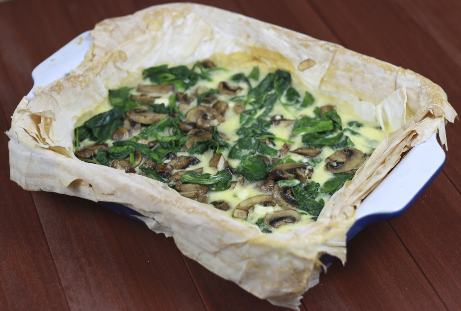 Mushroom, Spinach, and Scallion Tart with Goat Cheese